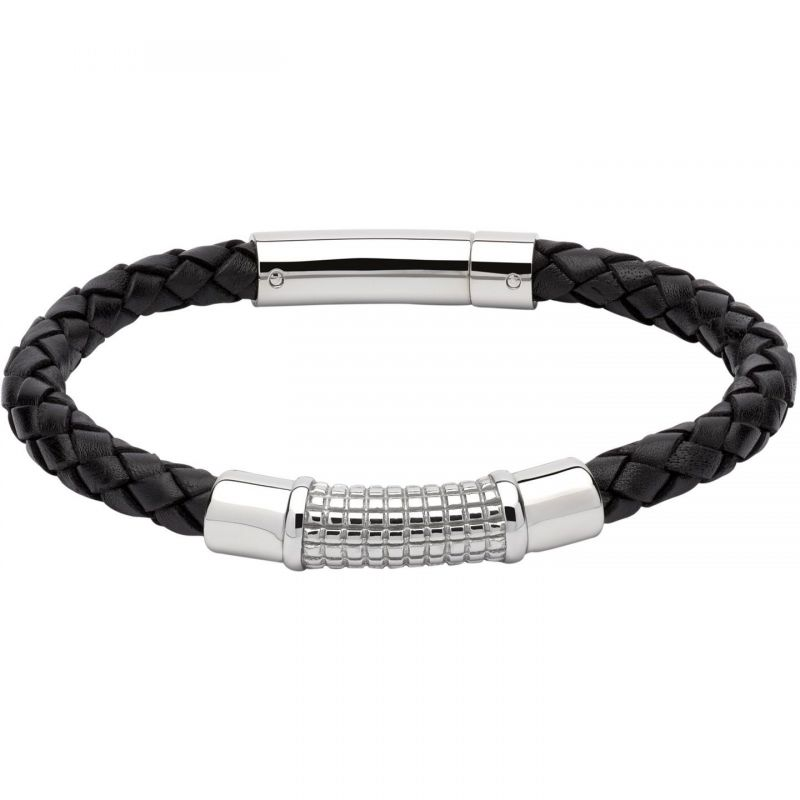 Mens Unique & Co Stainless Steel & Leather Bracelet from Unique & Co