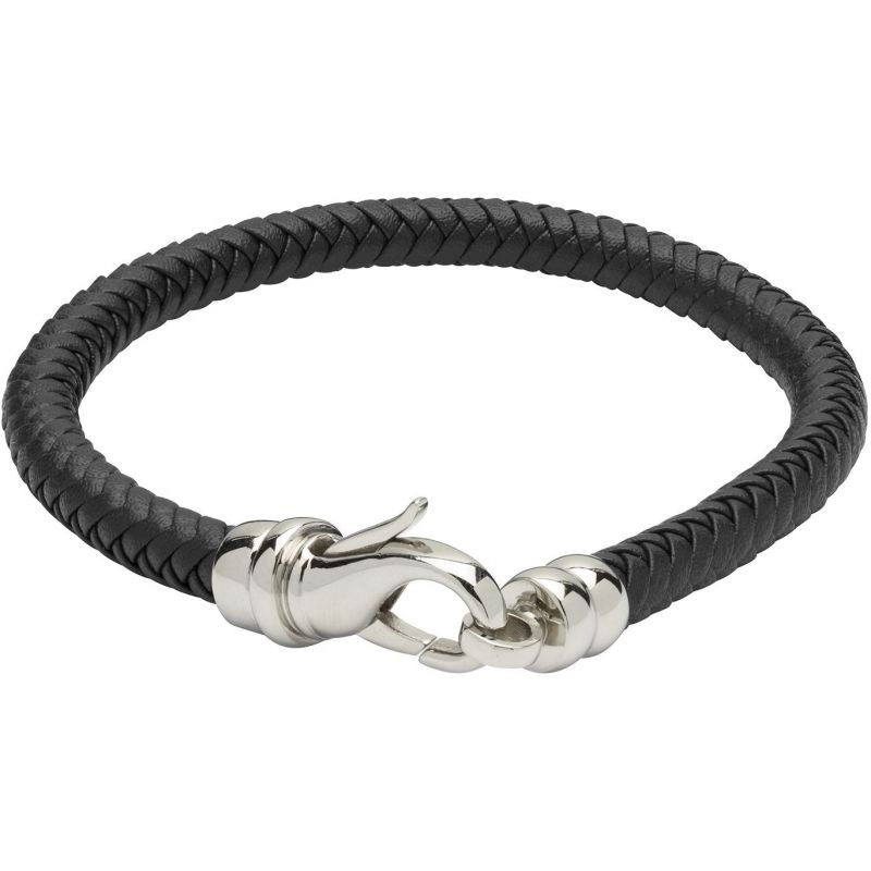 Mens Unique & Co Stainless Steel and Leather Bracelet from Unique & Co