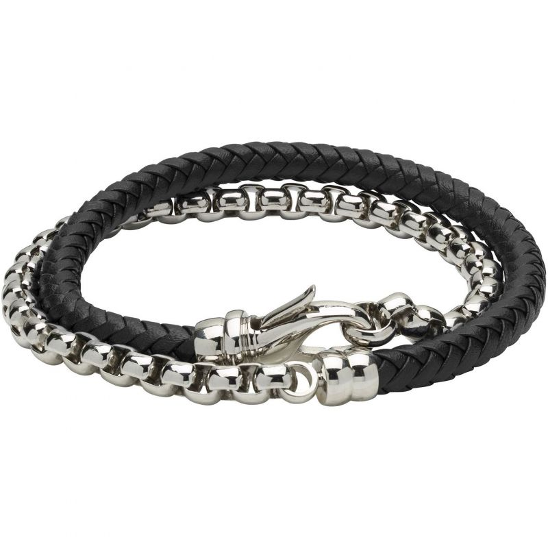 Mens Unique & Co Stainless Steel and Leather Double Wrap Bracelet from Unique & Co
