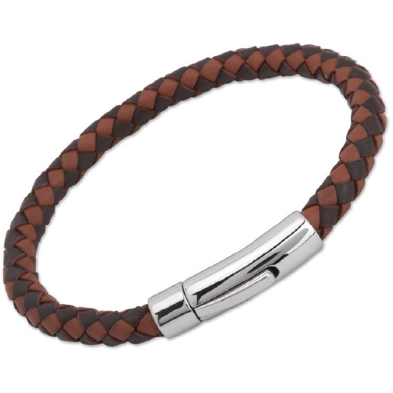 Unique & Co Stainless Steel Dark Brown + Light Brown Leather Bracelet from Unique & Co