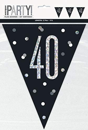 BLING Party Decorations and Tableware for 40th Birthday in BLACK & SILVER Glitz (40 Flag Bunting) from Unique