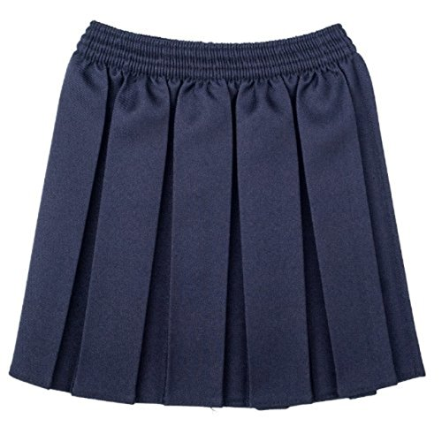 Girls School Uniform Box Pleated Elastic Skirt Navy Size 11-12 Years from Unique