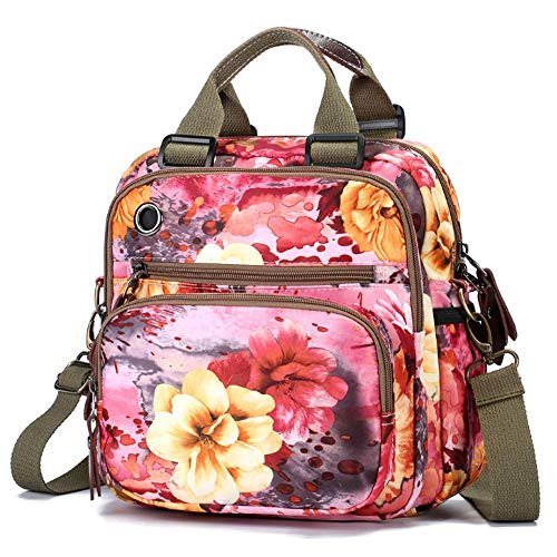 Uniuooi Floral Mummy Bag Nappy Changing Backpack Baby Diaper Handbag Maternity Shoulder Message Bag Multifunctional Multi-Pockets Waterproof Oxford Cloth Travel Rucksack Women Ladies Pink from Uniuooi