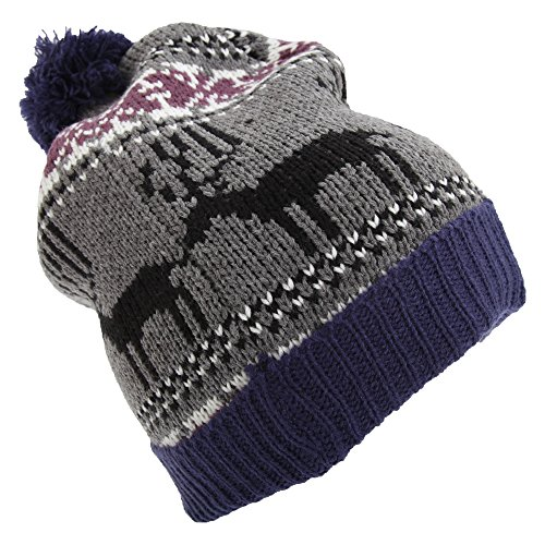 7118b0b39bb Mens Reindeer Design Christmas Chunky Bobble Hat (One Size) (Blue) from  Universal