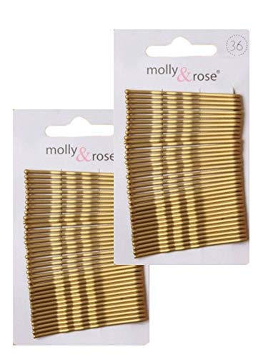 CARD OF 36 X 2 PACKS GOLD BLONDE KIRBY HAIR GRIPS SLIDES 4.5CM BOBBY PINS GRIPS from Unknown