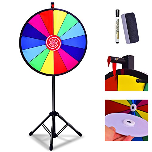 "COSTWAY 24"" Color Prize Wheel Dry Erase Fortune Spinning Tabletop Floor Stand Win Roulette Game (Type 2) from COSTWAY"