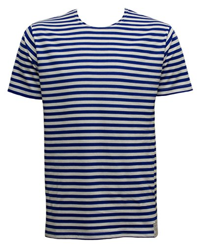 Russian Telnyashka Striped Sailors's / Navy's T-Shirt Short Sleeve (L, ROYAL BLUE) from Unknown