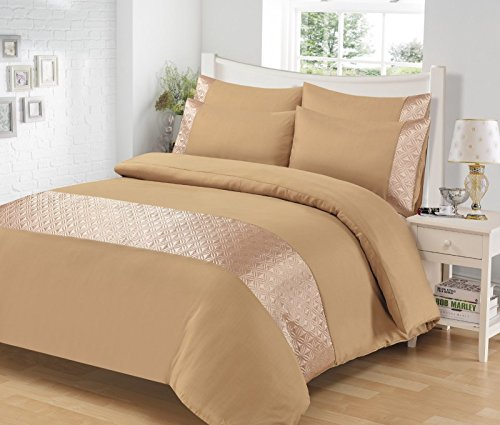 SELECT-ED® Luxuries ELLIPSE Satin Sequin Duvet Quilt Cover Set + Pillow Case Bedding Set (Single, Mink) from Unknown
