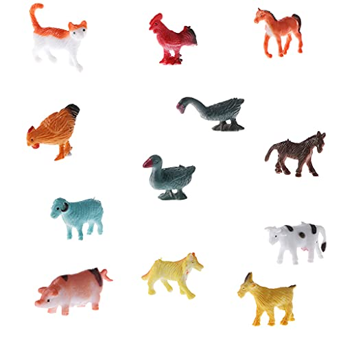 Sharplace 12pcs Small Plastic Farm Animals Dog Cow Horse Sheep Model Figures Kids Children Preschool Toy from Sharplace