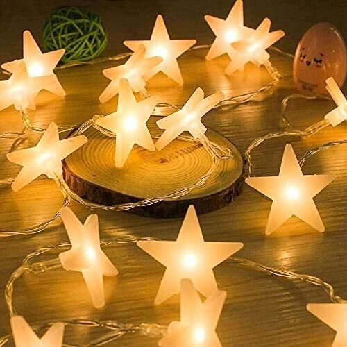 Uping Stars String Lights 30 LED | Battery Operated Fairy Light 4.5M | Party Garden Christmas Halloween Holiday Wedding Decoration Indoor Outdoor | Warm White | Energy Class A ++ from Uping