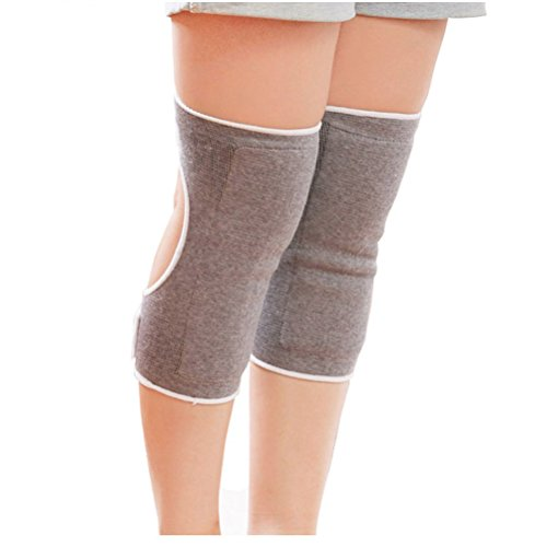 Upstore 1Pair Grey Thicken Breathable Adjustable Bamboo Charcoal Arthritis Opening Style Thermal Knee Pads Knee Brace Support Sleeve Leg Knee Winter Warmers for Arthritis Dance Yoga from Upstore