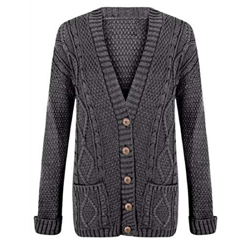 Women's Long Sleeve Button Top Ladies Chunky Aran Cable Knit Grandad Cardigan from Uptown Girl