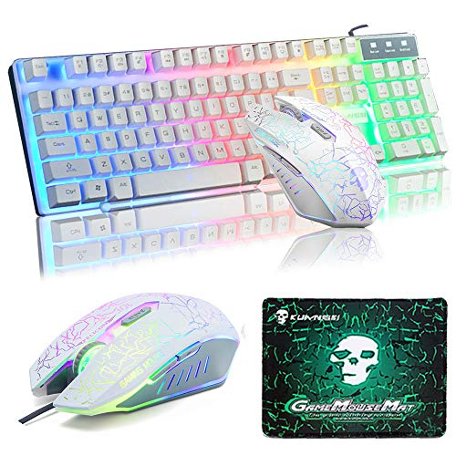 f3fe047506b UrChoiceLtd Keyboard Mouse Sets, T16 Wired Gaming Keyboard Rainbow Backlit  Ergonomic USB Keyboard + 2400DPI