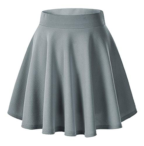 Women's Basic Solid Versatile Stretchy Flared Casual Mini Skater Skirt (X-Large, Grey) from Urban CoCo