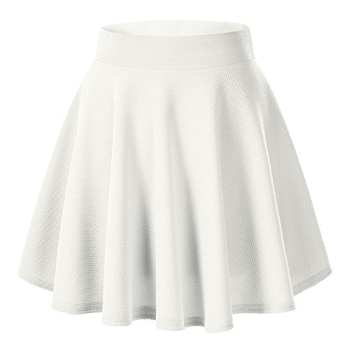 Women's Basic Solid Versatile Stretchy Flared Casual Mini Skater Skirt (X-Large, White) from Urban CoCo
