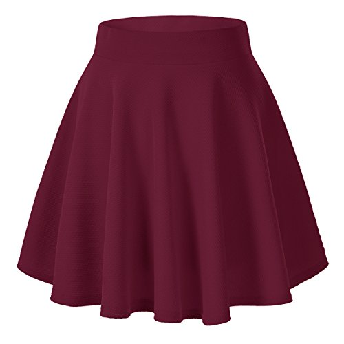 Women's Basic Solid Versatile Stretchy Flared Casual Mini Skater Skirt (X-Small, Wine Red) from Urban CoCo