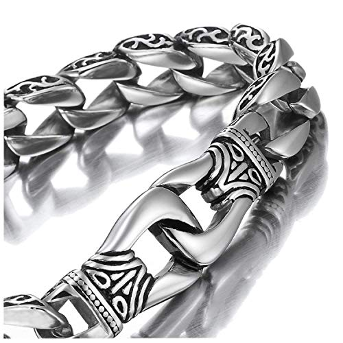 Amazing Stainless Steel Men's link Bracelet Silver Black 23cm (With Branded Gift Box) from Urban-Jewelry