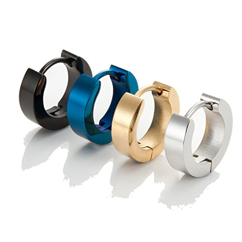 Set of Mens 316L Stainless Steel Classic Huggie Hinged Hoop Earrings - Includes 4 Pairs of Earrings for Men - Black, Blue, Gold and Silver Hoops from Urban-Jewelry