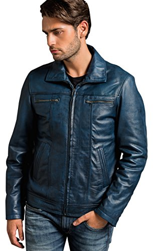 Urban Leather Calvin Men's Leather Jacket – Ocean Blue, Large from Urban Leather