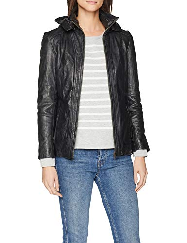 Urban Leather UR-114 Women Leather Jacket with Hood Sk1, Black, L from Urban Leather