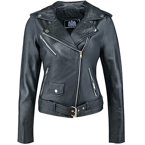 Urban Leather UR-132 Perfecto Biker Women's Jacket, Black, L from Urban Leather