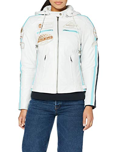 Urban Leather UR-297 Women's Motorcycle Jacket with Protective Padding, White, 4XL from Urban Leather