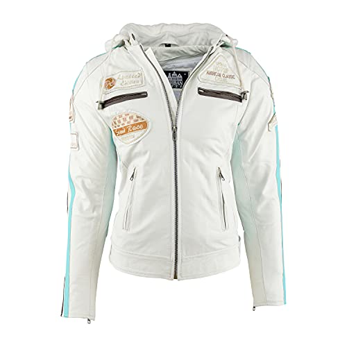 Urban Leather UR-298 Women's Motorcycle Jacket with Protective Padding, White, 5XL from Urban Leather