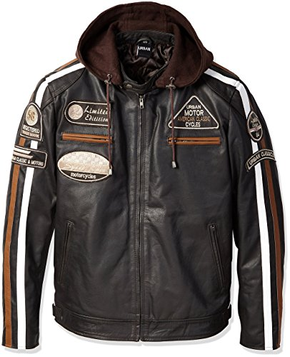 Urban Leather UR-32 58 Men's Jacket, Brown, 5XL from Urban Leather