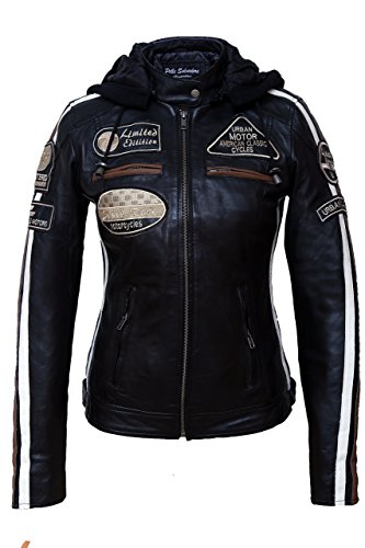 Urban Leather UR-154 Women's Motorcycle Jacket with Protective Padding, Black, L from Urban Leather