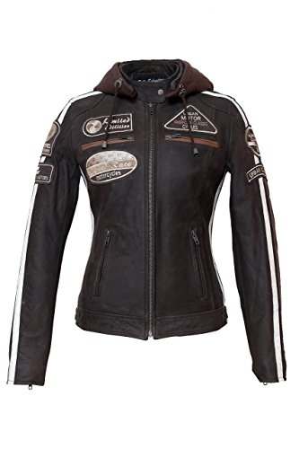 Urban Leather UR-174 Women's Motorcycle Jacket with Protective Padding, Braun, 4XL from Urban Leather