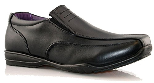 Boys Kids New Formal Smart Casual Slip On Back To School Trainers Shoe Size 1-6 - Black - UK 4 from Us Brass