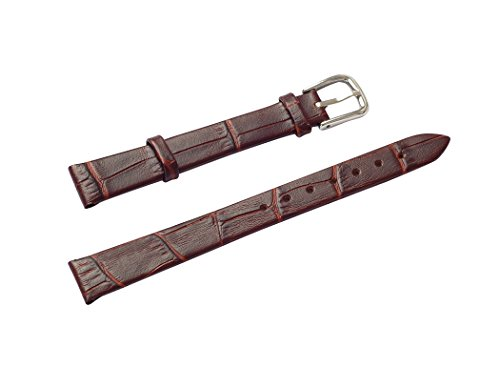 Uyoung 16mm Women's Brown Genuine Leather Crocodile Grain Thin Watch Band from Uyoung