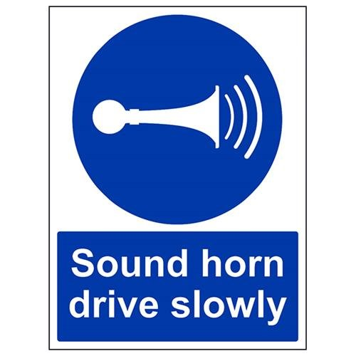 VSafety Sound Your Horn Drive Slowly Sign - Portrait - 300mm x 400mm - 2mm Rigid Plastic from V Safety