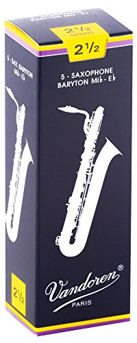 Vandoren SR2425 Bari Sax Traditional Reeds Strength 2.5; Box of 5 from VANDOREN