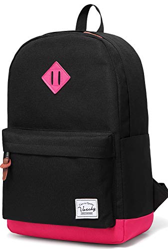 Vaschy Classic Lightweight Water Resistant Campus School Rucksack Travel Backpack Fits 15-Inch Laptop (Black Fushia) from VASCHY
