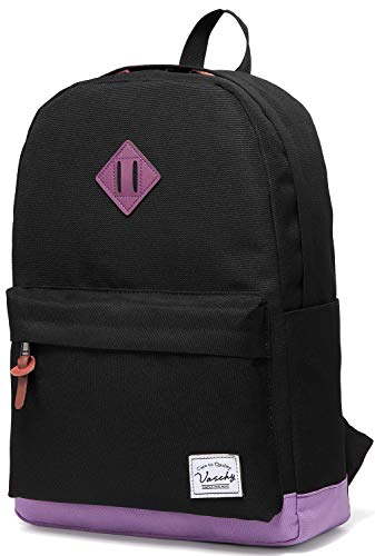 Vaschy Classic Lightweight Water Resistant Campus School Rucksack Travel Backpack Fits 15-Inch Laptop (Black Purple) from VASCHY