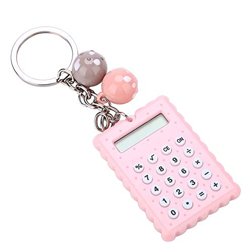 Vbestlife Mini Calculator, Portable Pocket Candy Color PVC 8 Digits Electronic Calculator with Silicone Buttons and Keychain Buckle for Children Students(Pink) from Vbestlife
