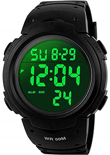 Mens Sports Digital Watches - Outdoor Waterproof Sport Watch with Alarm/Timer, Big Face Military Wrist Watches with LED Backlight for Running Men - Black by SKMEI from SKMEI