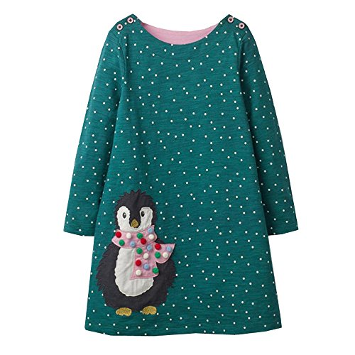 VIKITA Kids Girl Long Sleeve Cartoon Stripe Cotton T-Shirt Dresses JM7735 3T from VIKITA