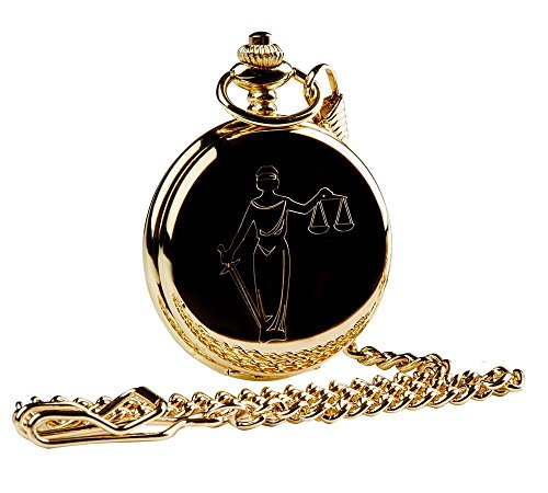 Law Legal Gold Pocket Watch Scales of Justice Luxury Gift for Solicitor Lawyer Judge from VL