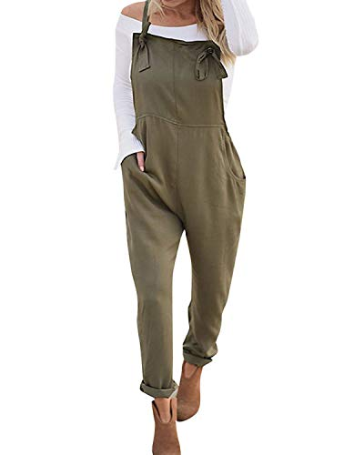 VONDA Women's Strappy Jumpsuits Overalls Casual Harem Wide Leg Dungarees Rompers Adjustable Straps-Army Green XL from VONDA