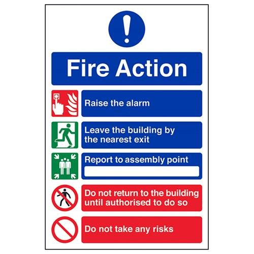 VSafety General Fire Action 5 Message Risks Sign - Portrait - 200mm x 300mm - Self Adhesive Vinyl from V Safety
