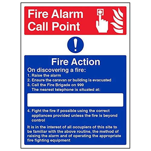 VSafety 12023BC-S'Caravan Site Fire Action' Sign, Portrait, 300 mm x 400 mm (Pack of 3) from V Safety