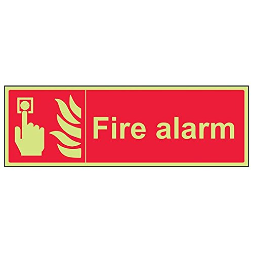 VSafety 13023BJ-G'Fire Alarm' Sign, Landscape, 450 mm x 150 mm (Pack of 3) from V Safety