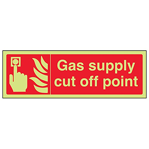 VSafety Glow In The Dark Gas Supply Cut Off Point Sign - 300mm x 100mm - Rigid Plastic from V Safety
