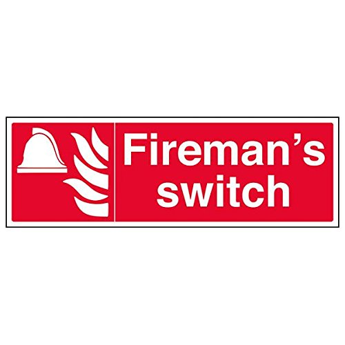 VSafety 13072BJ-G'Fireman's Switch' Sign, Landscape, 450 mm x 150 mm (Pack of 3) from V Safety