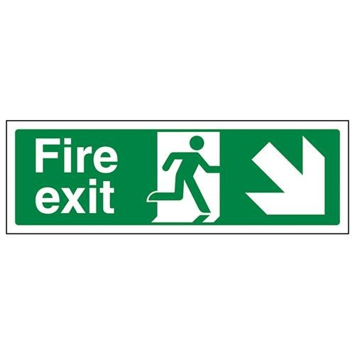 VSafety Fire Exit Arrow Down Right Sign - Landscape - 300mm x 100mm - 1mm Rigid Plastic from V Safety
