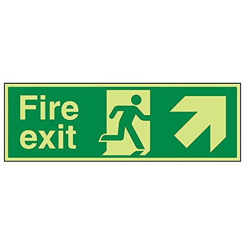 VSafety 14008BP-G'Fire Exit Arrow Up and Right' Sign, Landscape, 600 mm x 200 mm (Pack of 3) from V Safety