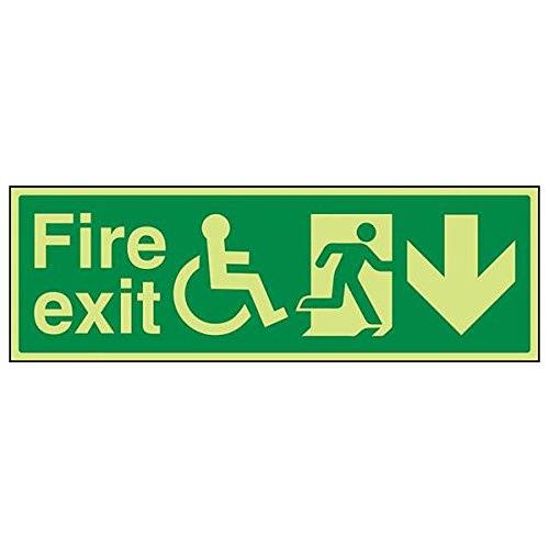 VSafety 14031BJ-G'Wheel Chair Fire Exit With Arrow Down' Sign, 450 mm x 150 mm (Pack of 3) from V Safety