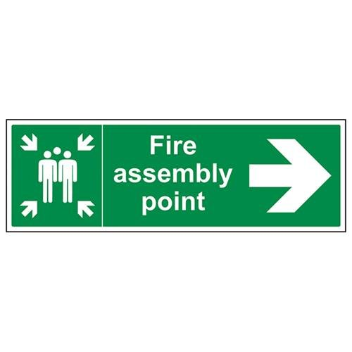 VSafety Fire Assembly Point Arrow Right Sign - Landscape - 600mm x 200mm - 1mm Rigid Plastic from V Safety